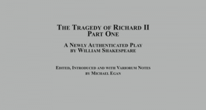 Review of TRAGEDY OF RICHARD II Part One, Edited by Michael Egan