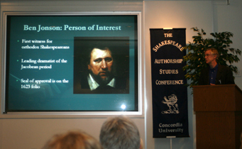 Professor Roger Stritmatter presents at the Shakespeare Authorship Research Centre  conference. (Photo courtesy of SARC.)