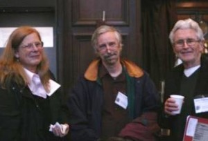 "Shelly Maycock, Roger Stritmatter, and Hank Whittemore at the Folger Institute ""Shakespeare and the Problem of Biography"" conference April 3-5, 2014."