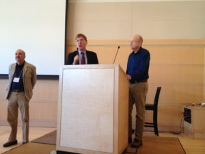 SOF past-president John Hamill, president Tom Regnier and Oxfordian of the Year Alex McNeil during award presentation in Madison, WI