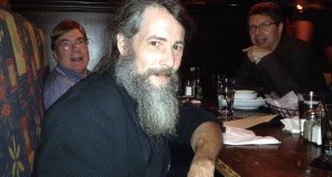Onsite conference chair Eddy Nix relaxes after day one of SOF conference at dinner hosted by Shakespeare Authorship Coalition director John Shahan at Brocach Irist pub.