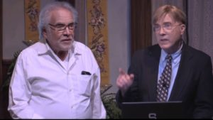 Joseph Adler (l.),Tom Regnier (r.) on set at GableStage