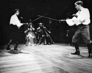 Hamlet and Laertes in a 1989 National Theatre production.