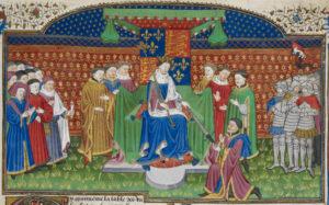 Henry VI enthroned, detail from the mid-15th c. Talbot Shrewsbury manuscript