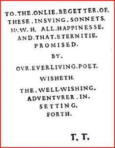 """Mr. W.H. first gained fame when he was named in the Dedication page of Shake-speare's Sonnets in 1609."""