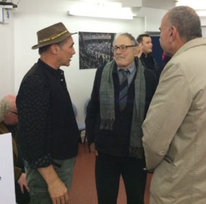 Mark Rylance, Ramon Jiménez, and John Hamill converse at SAT conference at The Globe, Nov. 22, 2015.