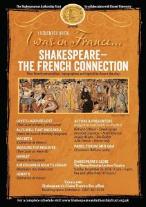 "SAT hosts ""Shakespeare -- the French Connection"" Nov 23, 2014 at The Globe."