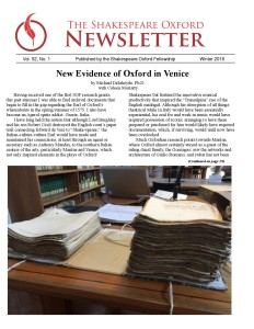 Shakespeare Oxford Newsletter - Winter 2016