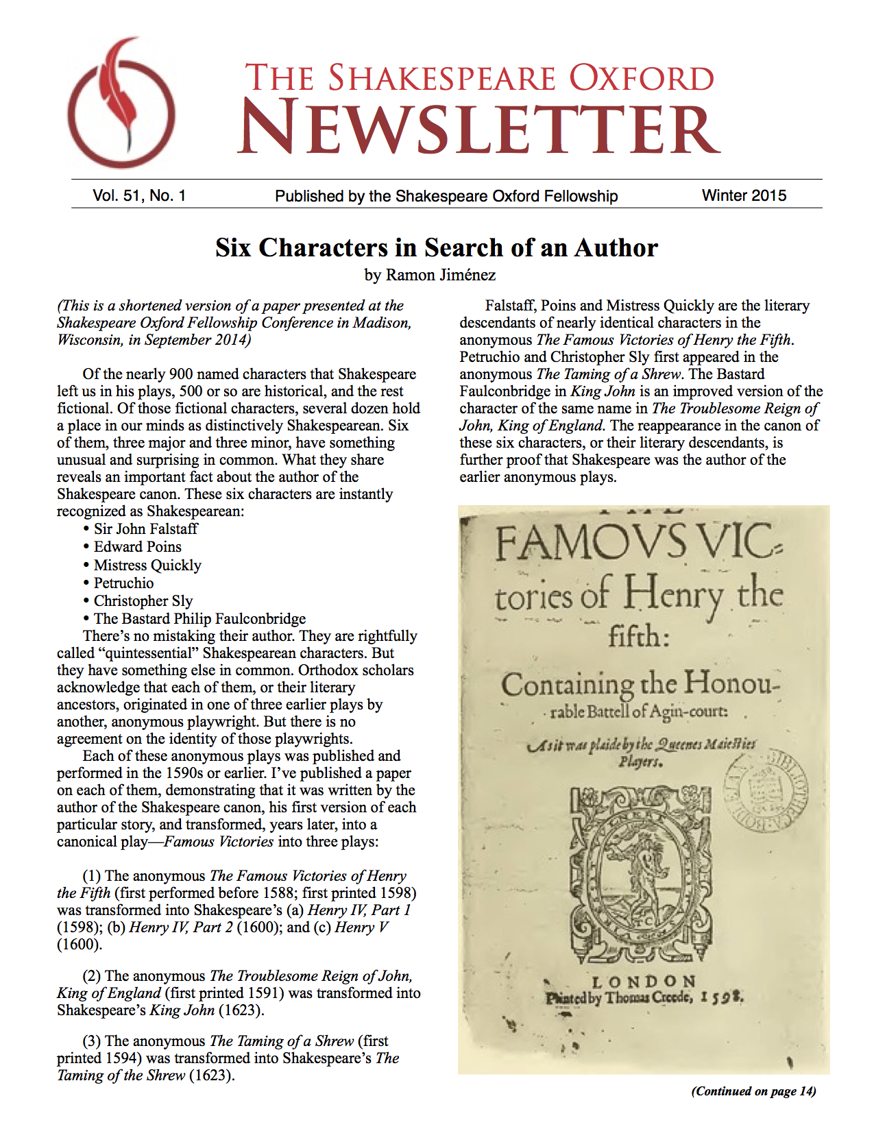 Shakespeare Oxford Newsletter Winter 2015