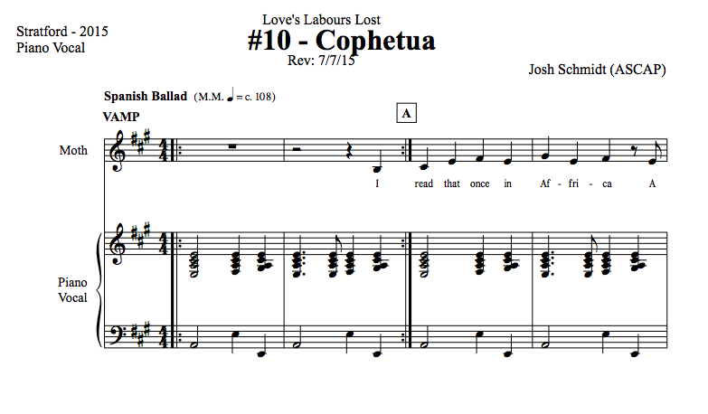 "Josh Schmidt's ""Cophetua"" from John Caird's 2015 Stratford Festival production of Love's Labour's Lost"