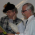 """Wally Hurst as Shaksper, Roger Stritmatter as Burbage in the musical """"A Question of Will"""""""