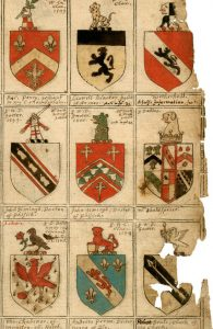 Bottom right corner, a depiction of the Shakespeare coat of arms. Via the New England Historic Genealogical Society