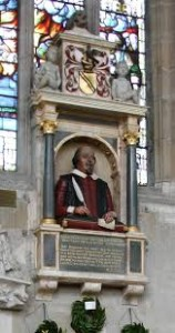 The Shakespeare Monument in Holy Trinity Church in Stratford-upon-Avon