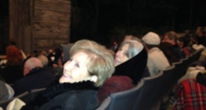 Bonner Cutting and Joan Leon huddle under blankets at the Up-the-Hill outdoor theater of the American Players Theatre in Spring Green, WI