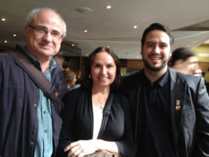 """Chris Pannell, Ann Zakelj, and Justin Borrow at the Festival Theatre in Stratford, Ontario for """"Authorhsip Appeal"""" Oct. 4, 2014"""