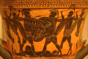 The fight for the body of Patroclus from the Iliad (National Archaeological Museum, Athens)